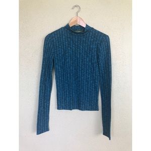 Prince & Fox blue ribbed sweater turtleneck top